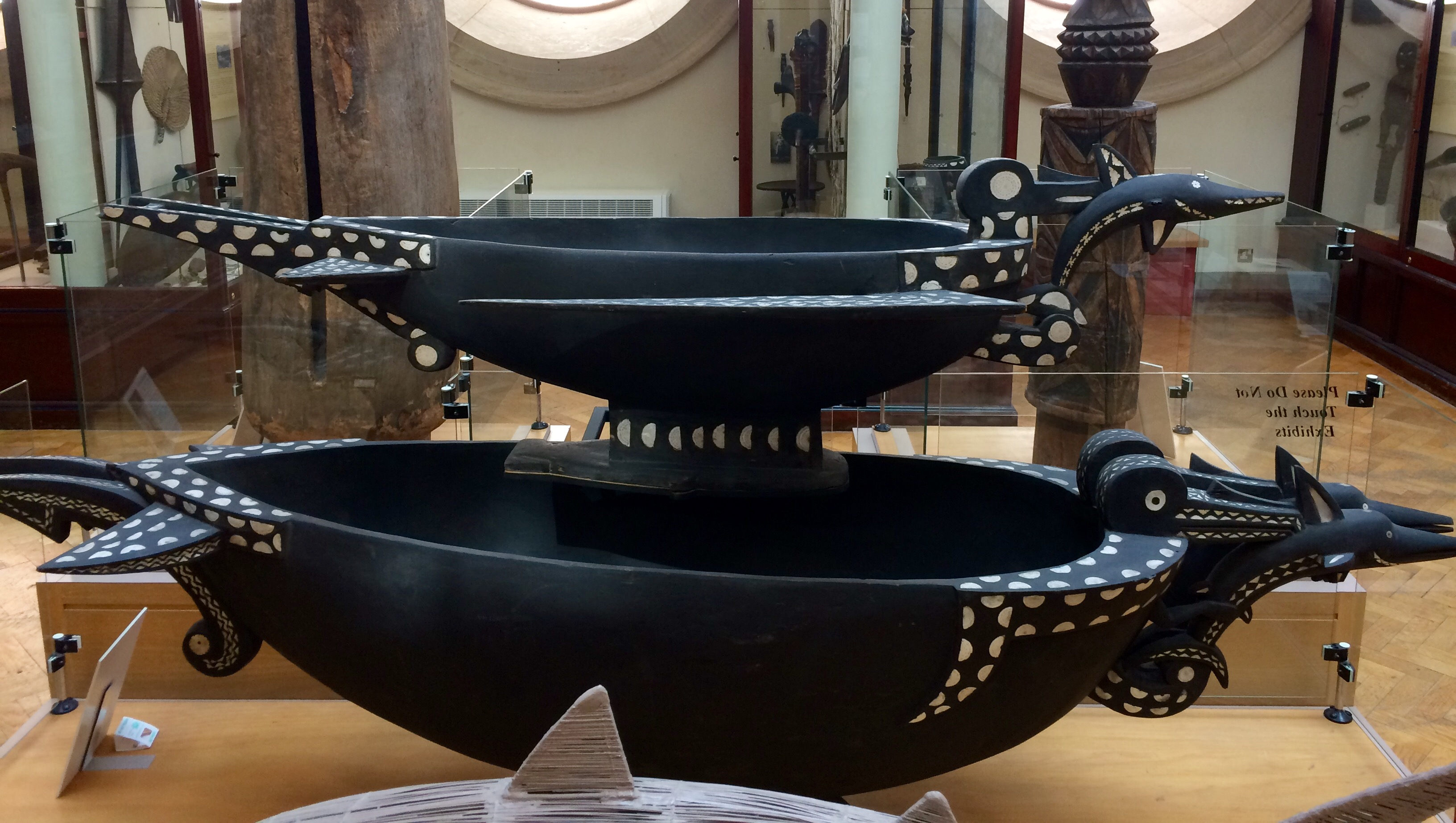 Food bowls from the Solomon Islands shown on display