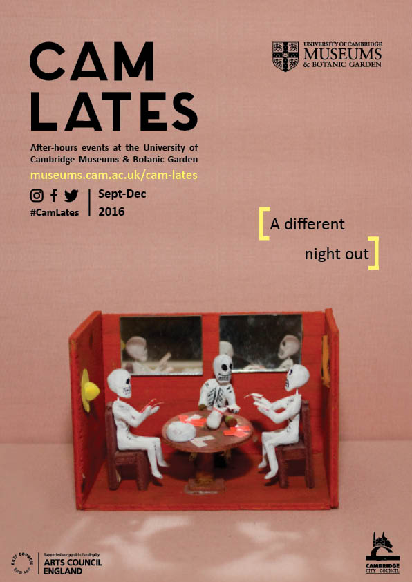 "Cam Lates poster, with the caption ""a different night out"". The poster has a plain pink background, and in the foreground is a model room with red walls, where three skeletons play cards"