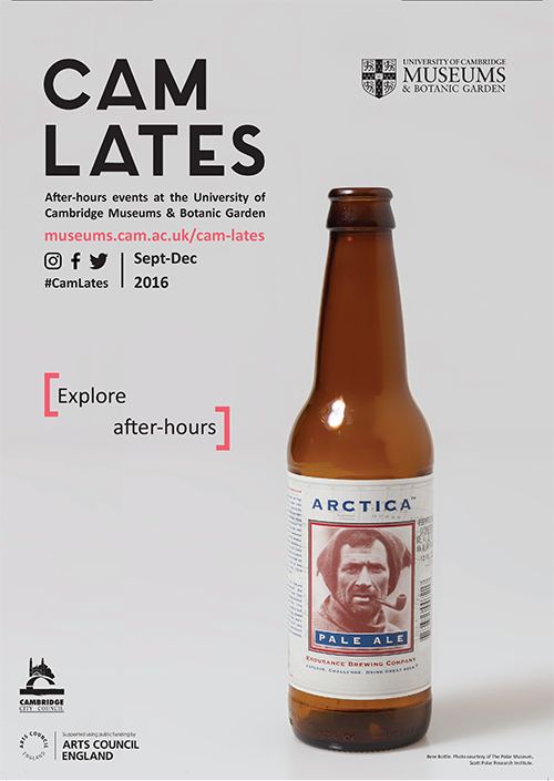 "Cam Lates poster with the caption ""explore after hours"". It features a brown beer bottle on a grey background. The bottle's label reads ""Arctica Pale Ale"" and has a picture of a polar explorer."