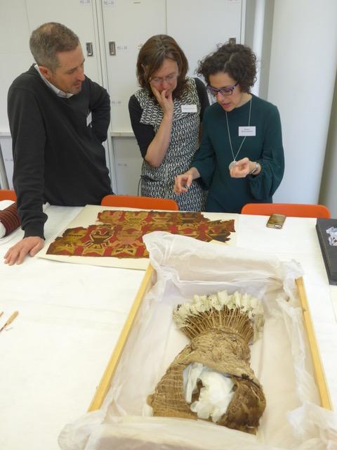 Fig. 2: Chris Wingfield (Cambridge), Malika Kraamer (Leicester), and Beatriz Marín-Aguilera (Cambridge) discussing a Peruvian textile.