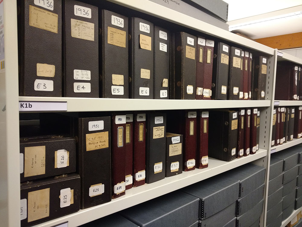 Two shelves of archive boxes