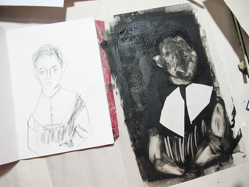 A print and sketch side by side