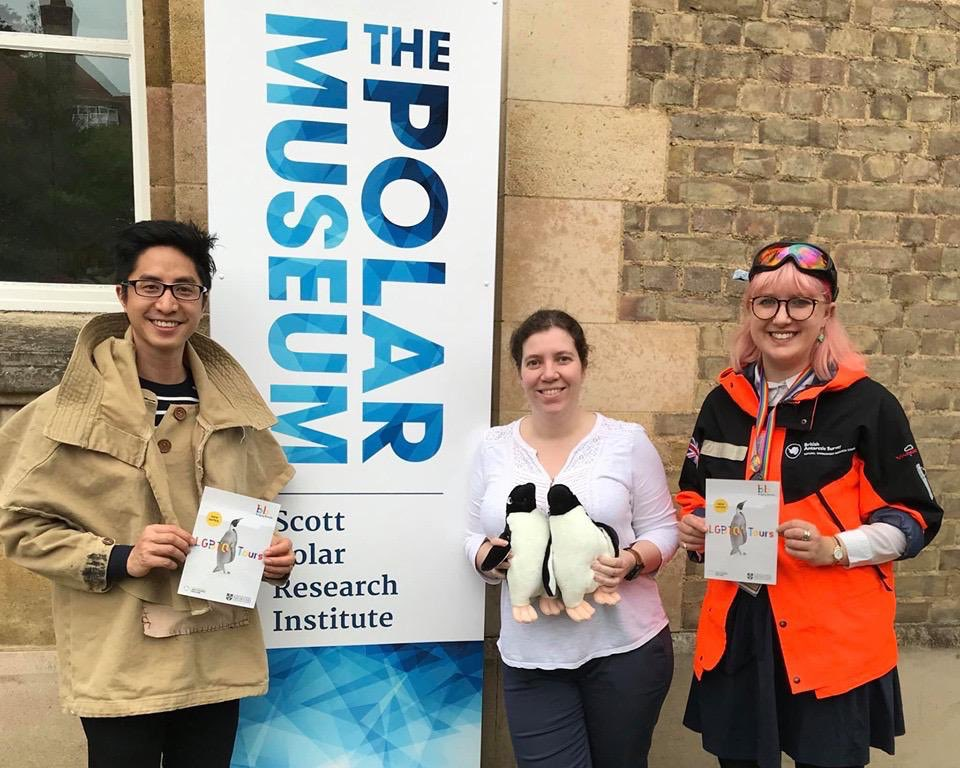 Dan Vo and Ellie Armstrong with Polar Museum Curator Charlotte Connelly