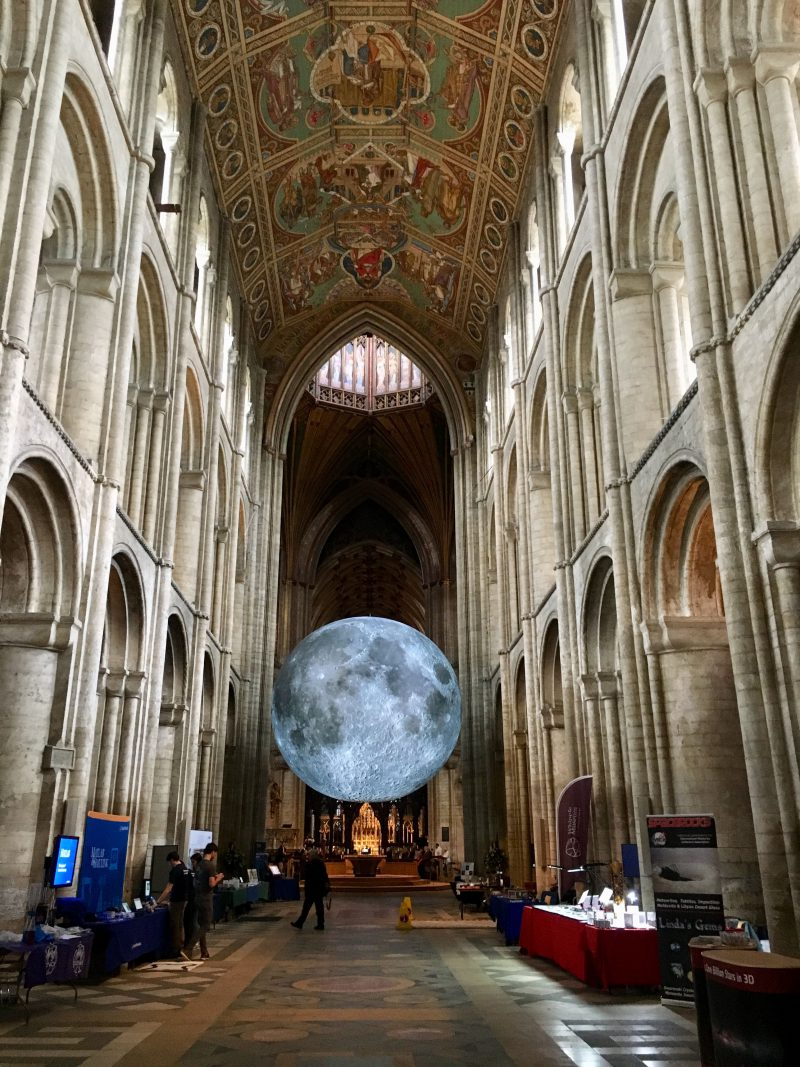 The giant moon replica hovering above Ely Cathedral's nave