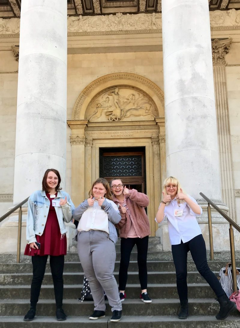 The four work experience students on the steps of the Fitzwilliam Museum