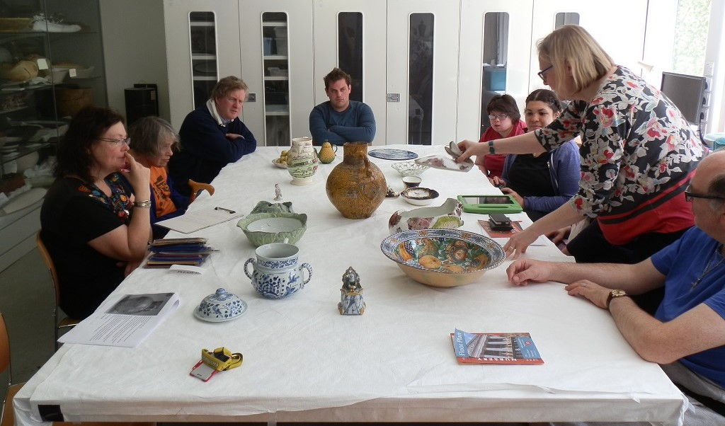 Ali, Jenny, Peter, Frank, Emma, Abi, me, and Mark (from left to right) having a look at how the two-part Chelsea rabbit tureen functions, with the ears and back forming a removable lid