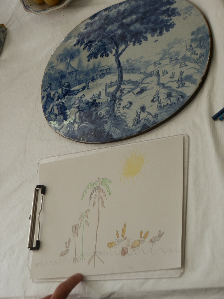 Frank's drawing of the Delftware coney catching wall-plaque