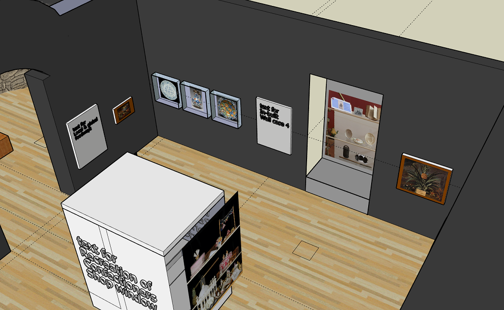 Screenshot from Sketchup showing the pomegranate and pineapple section of Feast & Fast with the pomegranate charger wall-mounted as per the Rowan students' request, and the pineapple-shaped teapot in the context of other objects used to make pineapple flummery and ice cream