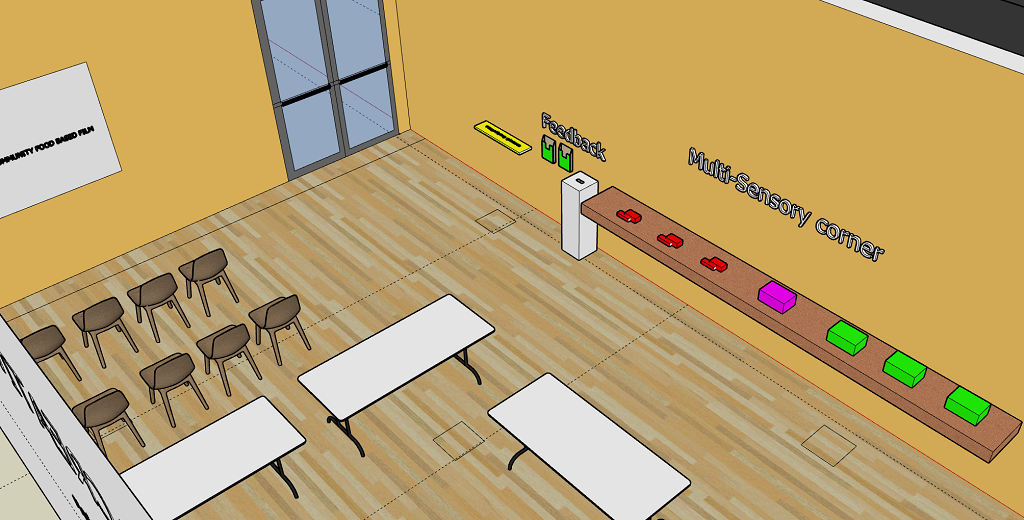 Screenshot from Sketchup showing the original plan for the final part of the Creative Zone with a wall-mounted screen for the Community Food Film, tables for visitors to sit at to encourage them to 'relax, reflect, and respond' by giving written and visual feedback, and the multi-sensory corner, including the interactive Museum in a Box, in part a response to Rowan's wish to have 'people explaining the exhibits'