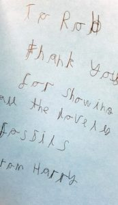 A thank you letter from a participant to Rob