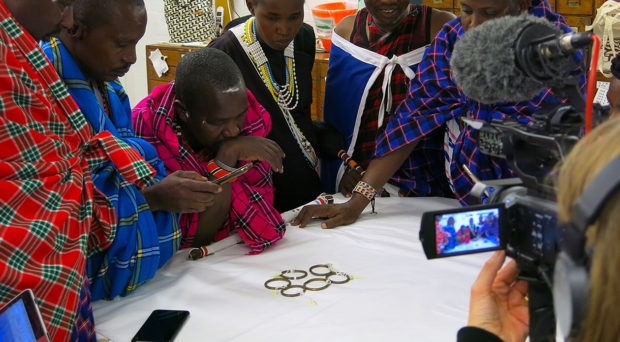 Maasai visitors in the Museum of Archaeology and Anthropology