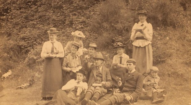 Students gather around Professor McKenny Hughes in Malverns, 1892. Some of these women became the first female fellows of the Geological Society, in 1919. (ref. SGWC 02/02/10)
