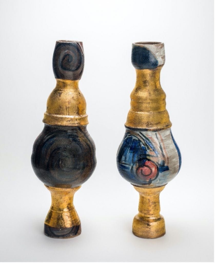 Photo of the Candy Lady pair which is Stoneware, thrown, painted and stained, with gold lustre