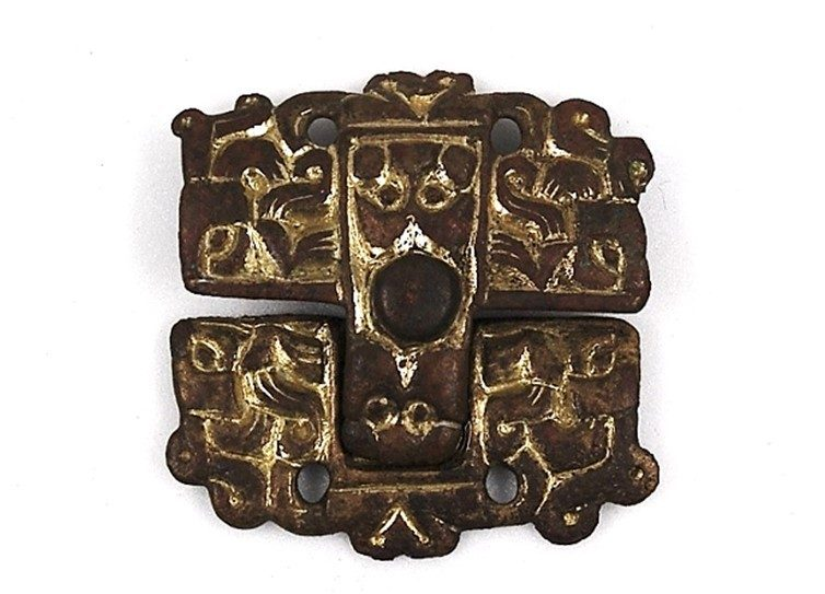 Pair of square, gilded Anglo-Saxon wrist clasps