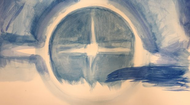Student artwork; abstract blue and white watercolour
