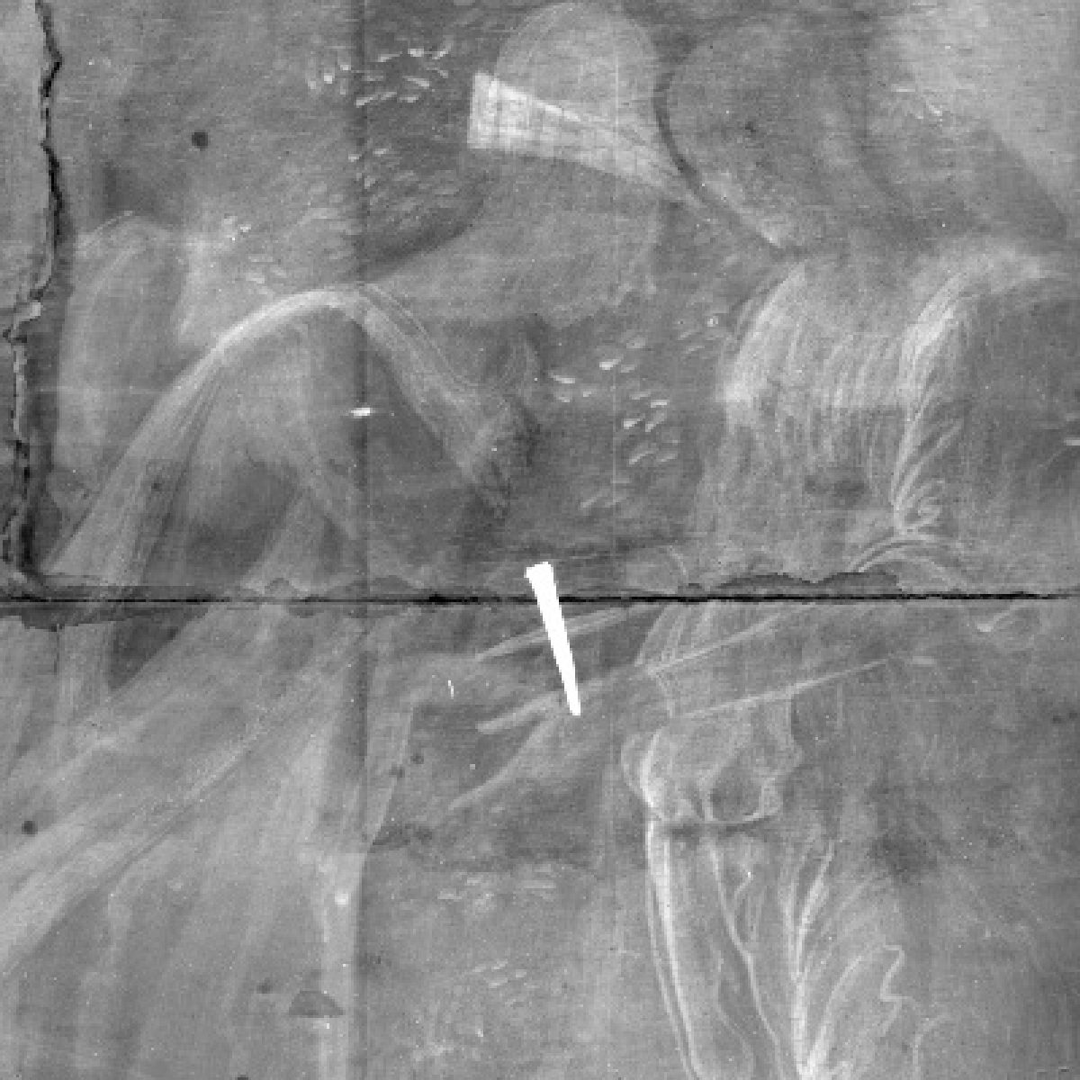 A section of an x-ray of Cupid & Psyche that shows a nail in white across two boards of wood. The painting is lightly visible.