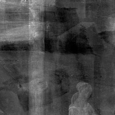 Section of x-ray of Cupid & Psyche showing some canvas, the painting is lightly visible