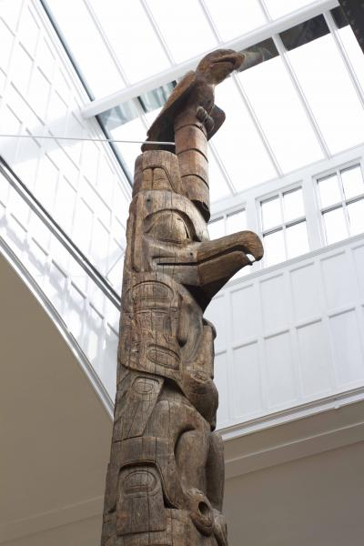 carved totem pole at the Museum of Archaeology & Anthropology