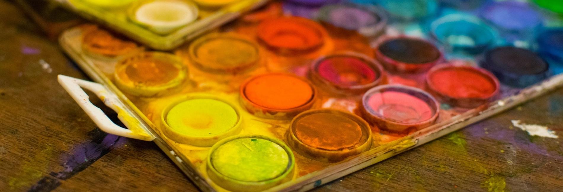 Paints on a tray
