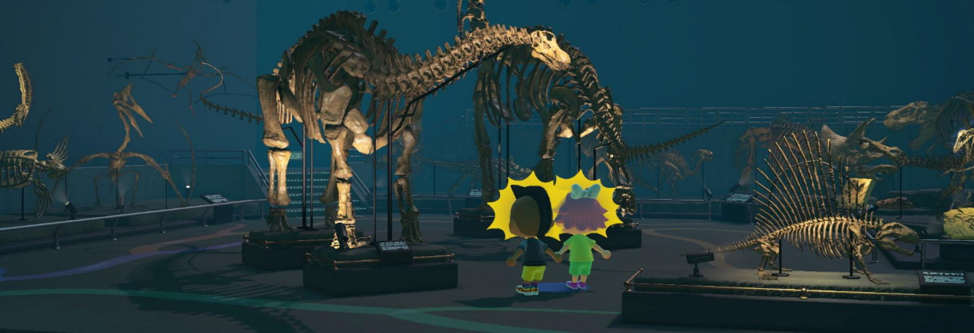 Exploring the dinosaurs in Animal Crossing game