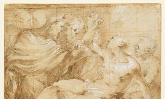 Image: Valerio Castello (1624-59), The Martyrdom of Saint Lawrence, pen and brown ink and brown wash, heightened with white, over an underdrawing in black chalk, squared in red chalk