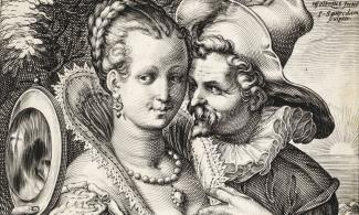 Engraving of a couple