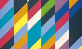 A colourful patterned painting called shadow play by artist Bridget Riley.