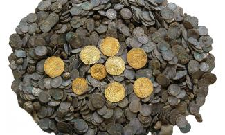 The Chesterton Lane Hoard (pre-conservation)  Hidden at Chesterton Lane Corner (c. 1350) and found in 2000
