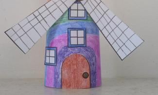 Colourful paper Burwell windmill