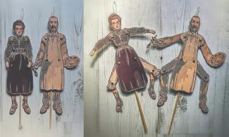 Victorian Jumping Jack dolls featuring a man and a woman