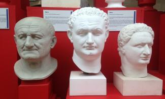 Casts of three Roman busts