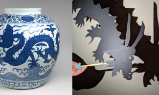 Chinese jar and a dragon shadow puppet