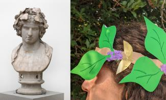 Make a wreath inspired by the adornment that Hadrian put on this sculpture of Antinous