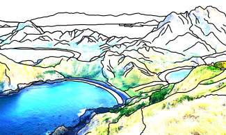 Komodo island illustration. Showing a bay to the left and mountainous ground to the right